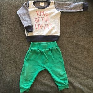 Seed toddler track pants & sweater size 12-18 mths